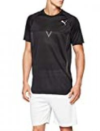 PUMA NerverRunBack Viz SS tee T-Shirt, Hombre, Puma Black Heather, XL