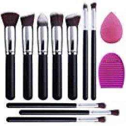 EONO Essential Set de Brochas de Maquillaje Profesional, Synthetic Kabuki Premium para Base Polvos Colorete Contorno, con Esponja y Limpiador de Cepillo (10+2 Piezas, Negro/Plateado)