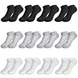 Rovtop 12 Pares de Calcetines para Hombre y Mujer - 12 Pares Calcetines Deportivos Medias Bajas, Malla Transpirable (Blanco/Negro/Gris)