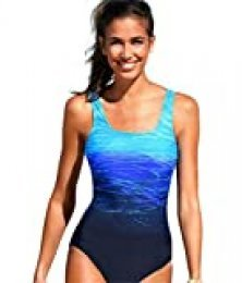 Trajes de baño de una Pieza Bañadores de Mujer Cintura Alta Size Bikini Gradiente de Color Cruz Atrás Slim Fit Ropa de Baño para Playa/Deporte/Natación/Buceo