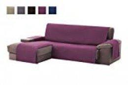 textil-home Funda Cubre Sofá Chaise Longue Adele, Protector para Sofás Acolchado Brazo Izquierdo. Tamaño -200cm. Color Malva (Visto DE Frente)