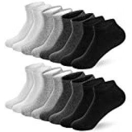 Newdora 8 Pares Primavera y Verano Calcetines de Corte Bajo de Algodón Para Hombres y Mujeres - Unisex Adulto Calcetín Deportivos Corto Malla Transpirable Invisibles Antideslizantes Calcetines(Blanco
