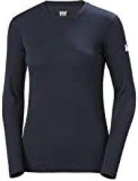 Helly Hansen W HH Tech Crew LS Camiseta Tecnica, Mujer, Azul Navy, M