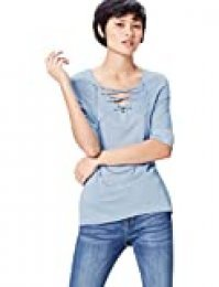 Marca Amazon - find. Camiseta con Cuello de Pico Mujer