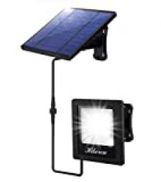 Luz Solar Exterior, Foco Led Solar Exterior Separada, IP65 Impermeable, con 5M Cable, 4400mAh Batería de Gran Capacidad, Lámpara Solar para Patio, Jardín, Balcón, Garaje (Luz Blanca)