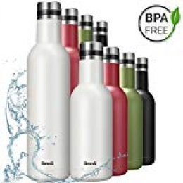 Brewsly Botella de Agua - 750ML de Doble Pared con Aislamiento Botella Térmica, Acero Inoxidable 18/8, Proceso de Recubrimiento en Polvo, Resistencia al Rayado, Fácil de Limpiar, Blanco