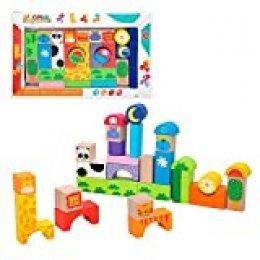 WOOMAX- Juegos Bloques Animales de madera-32 Piezas (Colorbaby 42739) , color/modelo surtido