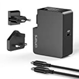 Omars Power Delivery 3.0 Cargador USB C 60W con Enchufes EU & UK Reemplazable, 1 x Cable USB-C a C, Cargador de Pared USB para Macbook/Macbook Pro, iPad Pro, Nintendo Switch, iPhone y más
