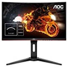 """AOC C24G1 - Monitor Gaming Curvo de 24"""" con Pantalla Full HD e-Sports (VA, 1ms, AMD FreeSync, 144Hz, Sin Marco, Ajustable en altura y FlickerFree), Color Negro/Rojo"""