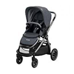 Maxi-Cosi Adorra Carrito bebé recién nacido hasta 3.5 años, cochecito plegable y reclinable en posición acostada, hamaca acolchada e gran cestilla de compra, color essential graphite