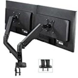 VIVO Soporte de escritorio para monitor LCD doble, resistente, totalmente ajustable, se adapta a 2 o dos pantallas de hasta 27 pulgadas