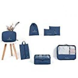 Baomasir - Juego de 7 piezas de bolsas de viaje, organizador de equipaje con bolsa para ropa, bolsa para zapatos, bolsa de cosméticos, bolsa de viaje (azul oscuro)