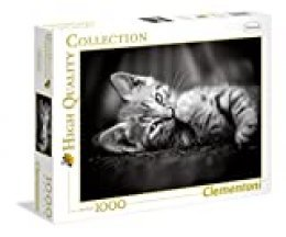 Clementoni-39422 Puzzle 1000 Piezas Kitty, Color Negro, Blanco (39422.7)