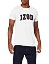Izod Solid Logo Arch tee Camiseta, Blanco (Cloud Dancer 104), XL para Hombre