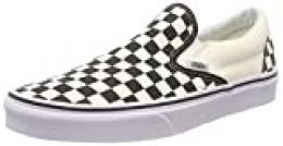 Vans Classic Slip-On - Mocasines Unisex, Color Blanco (White and Black Checker/White), Talla 37