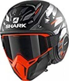Casco de moto Shark STREET DRAK KANHJI MAT KOS, Negro/Oroange, XS