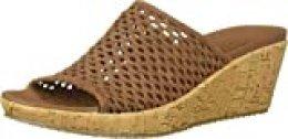 Skechers Beverlee-Golden Sky, Sandalias de Punta Descubierta para Mujer, Marrón (Brown Woven Textile Brn), 41 EU