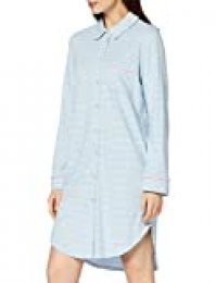 Peopletree Stripe Pyjama Shirt Dress Camisón, Multicolor (Blue and Cream Blx), 42 (Talla del Fabricante: 14) para Mujer