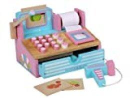 Siva Toys 269265 - Caja registradora de Madera, Color Rosa y Azul Claro