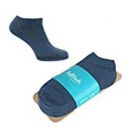 SoftSocks SNEAKER LOW CUT Calcetines para mujeres, hombres y adolescentes, varios tamaños, 6 pares: ¡Negro, blanco o mixto! Calidad de algodón! (Mezclilla azul, 43-46)