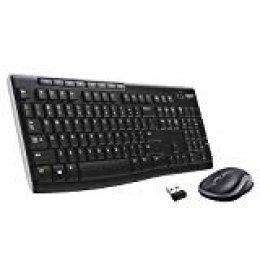 Logitech MK270 - Pack de teclado y ratón (2.4 GHz, inalámbrico, Windows), Negro [QWERTY Español]