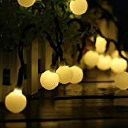 60 LED 10M Cadena Solar de Luces, IP65 Impermeable 8 Modos Luces Decorativas, Guirnaldas Luminosas para Exterior,Interior, Jardines, Casas, Boda, Fiesta de Navidad (Amarillo)