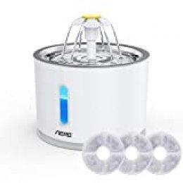 Aerb Fuente de Agua para Gatos 2.4L, con LUZ en Noche y Silencioso Altamente, Dispensador de Agua Automática para Mascotas con 3 Filtros de Carbón Activado