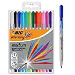 BIC Intesity Medium - Blíster de 12 unidades, rotuladores punta media (0,8 mm), colores surtidos