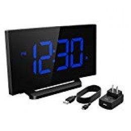 Mpow Reloj Despertador Digital, Reloj de Pantalla Curva LED de 5 Pulgadas y Atenuador, 3 Sonidos de Alarma con 6 Brillo Ajustable, Función Snooze para Dormitorio, Oficina con Adaptador (Azul)