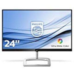 """Philips 246E9QJAB/00 - Monitor LCD de 24"""" con Flicker Free, Flat (FHD, LED, resolución de 1920x1080, Modo LowBlue, con Altavoces incorporadas, tecnología AMD FreeSync, HDMI, VGA), Color Negro y Plata"""
