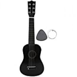 Guitarra acústica infantil (tamaño 21pulgadas, niños de 8 a 12 años, incluye funda, correa, cuerdas y púa, color negro