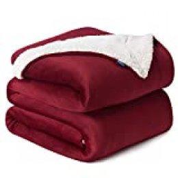 Bedsure Manta Roja Reversible de Franela/Sherpa 220x240cm - Manta para Cama 135/150 de 100% Microfibra Extra Suave - Manta de Felpa Roja Oscura