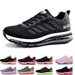 Air Zapatillas de Running para Hombre Mujer Zapatos para Correr y Asfalto Aire Libre y Deportes Calzado Unisexo Black White 34