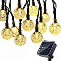 Qedertek Guirnaldas Luces Exterior Solar, Cadena de Bola Cristal Luz para Exterior, 9M 50 LED, Guirnalda Luminosa Impermeable, Luces Decoración para Jardín, Casa, Bodas, Jardine (Blanco Calido)