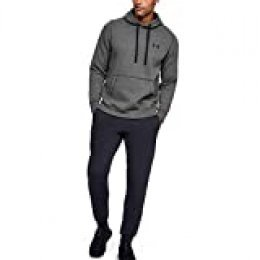 Under Armour Rival Fitted Pull Over Sudadera con Capucha, Hombre, Gris (Carbon Heather/Black 090), M