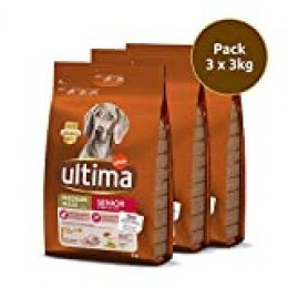 Ultima pienso para Perro Medium-Maxi Senior con pollo, pack de 3 x 3 kg - Total 9 kg