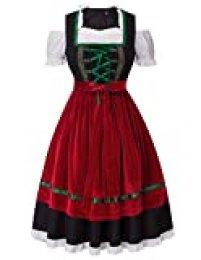 Disfraz de Fiesta de la Cerveza Alemana Disfraz de moza bávara para Fiesta (3 Piezas: Tops, Vestido, Delantal) Floral-1# 18 pequeño