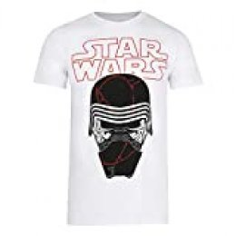 Star Wars Cracked Mask Camiseta, Blanco, Pequeña para Hombre