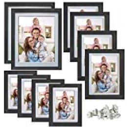 Giftgarden - Juego de Marcos de Fotos para múltiples Fotos, 10 Unidades, 2 de 20 x 25, 4 de 10 x 15, 4 de 13 x 18, Negro