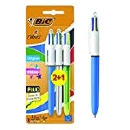 BIC Shine 4Colours Bolígrafo a presión punta media 1,0mm cuerpo metálico 4colores de tinta de una sola pluma Paquete de 3