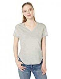 Marca Amazon - Daily Ritual - Camiseta de manga corta enrollable de algodón con cuello en V para mujer