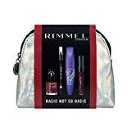 Rimmel London Basic Not So Basic Set de Maquillaje (incluye Máscara Scandaleyes Wow, Scandaleyes Khol Liner negro, Labial Stay Matte 810, esmalte de uñas Super Gel Kate 043)