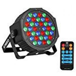 ENKEEO Luz Escenario 36 LEDs RGB Activado Sonidos DMX, 6 Modos y Control Remoto, 20000 horas de vida util, para Discotecas, Festivales, Fiestas Outdoor e Indoor, Shows, con Base de Montaje Incluido