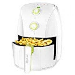 Cecotec Freidora Dietetica sin Aceite Cecofry Compact Rapid White. Cocina sin Aceite, Temperatura ajustable hasta 200ºC, Temporizador 30min, Capacidad 1,5l (400gr patatas), Incluye Recetario, 900 W