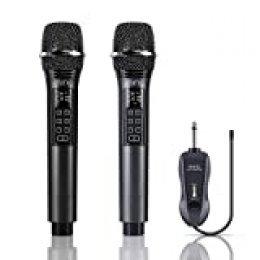 Miric - Micrófono inalámbrico con control de volumen y botones de control de eco, doble micrófono inalámbrico dinámico UHF, micrófono de karaoke, recargable