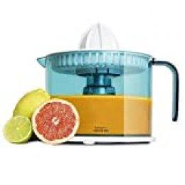 Cecotec ZitrusEasy Basic Exprimidor Eléctrico, 40 W, Tambor de 1 litro BPA Free, doble sentido de giro, doble cono, cubierta antipolvo, color azul/blanco