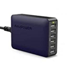 RAVPOWER Cargador USB 60W 12A 6-Puertos, Cargador de Red con Tecnología iSmart 2.0 Compatible con iPhone 11 Pro MAX XS MAX XR X 8 Plus Samsung Huaiwei Xiaomi y Más (Negro- Azul)