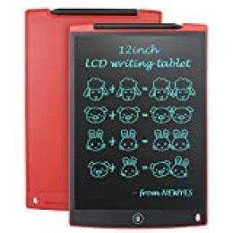 """NEWYES 12"""" Tableta de Escritura LCD, Tableta gráfica, Ideal para hogar, Escuela u Oficina. Pilas Incluidas y 2 Imanes para la Nevera (Rojo)"""