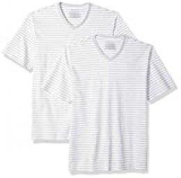 Amazon Essentials - Camiseta holgada a rayas de manga corta con cuello en V para hombre, Pack de 2