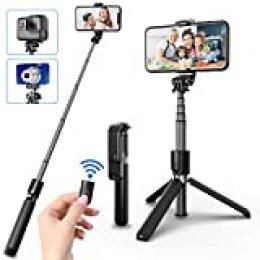 SYOSIN Palo Selfie Trípode, Bluetooth Selfie Stick Movil Deportivo Extensible de Control Remoto para Viaje Autofoto, Gopro, Cámara de acción y teléfonos